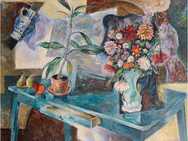 Vladimir Davidovich Baranoff-Rossiné  (Russian, 1888-1944) Still life with fruit and flowers, c.1910-15