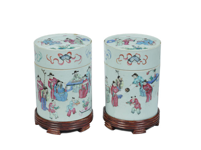 A pair of Chinese famille rose cylindrical jars and covers Late 18th/early 19th Century
