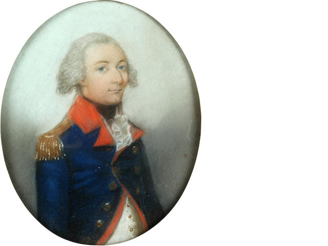 English School, 18th Century Portrait of John Grant Fraser (1764–1797), half-length, in the uniform of the Royal Artillery