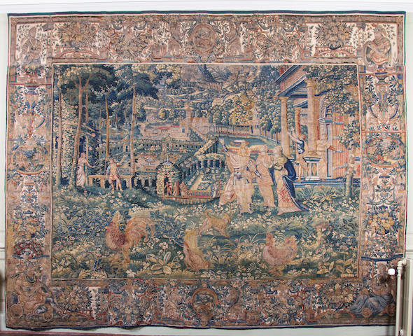 A late 16th/early 17th century tapestry, Brussels, allegorical of one of The Planets Upper border associated