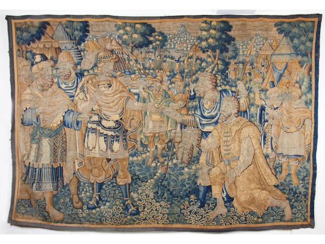 A 17th century narrative tapestry, Flemish, Romulus brings Numitor Amulius' Head