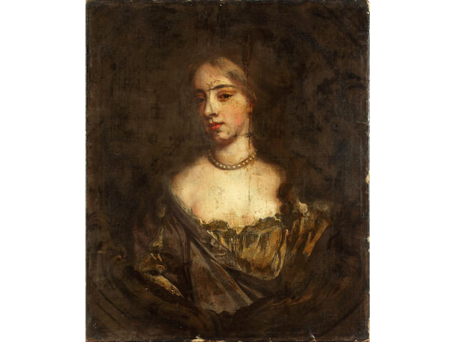 After Sir Peter Lely, late 17th Century Portrait of a lady, bust length in a white chemise and a gold and mauve dress with a pearl necklace, within a painted stone cartouche