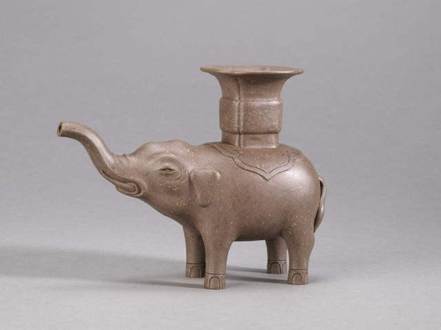 A very rare Yixing stoneware archaistic 'elephant and vase' vessel Inscribed Xu Youquan