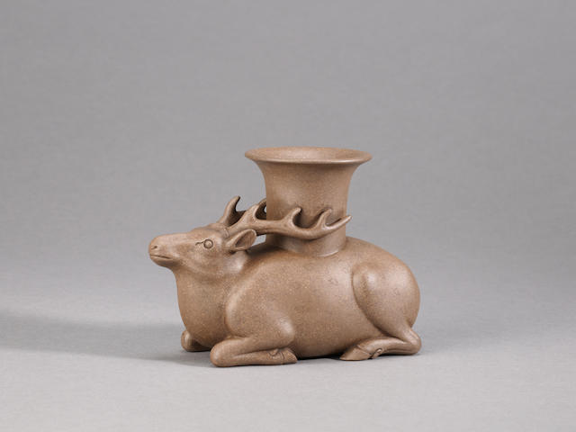 A very rare Yixing stoneware archaistic 'recumbent deer' vessel Inscribed Chen Zhongmei
