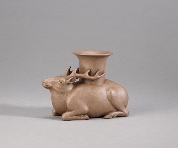 A very rare Yixing stoneware archaistic 'recumbent deer' vessel Inscribed Chen Zhongmei