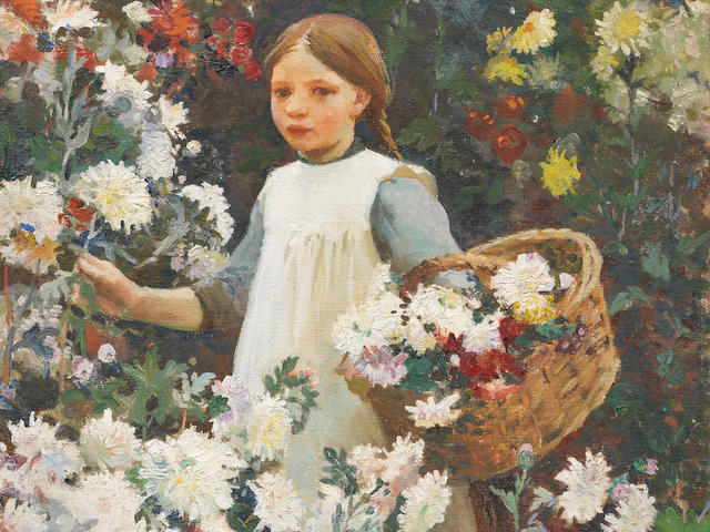 Harold Harvey (British, 1874-1941) Picking chrysanthemums