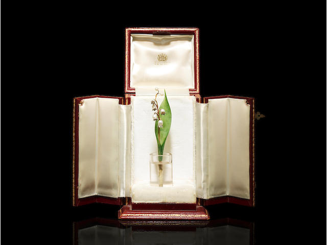 A jewelled gold, nephrite and rock crystal lily of the valley study Fabergé, St. Petersburg, circa 1900 height: 13cm (5 1/8in).