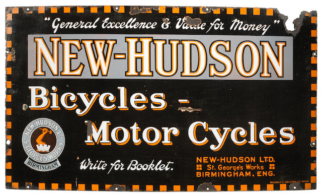 A 'New-Hudson Bicycles - Motor Cycles' enamel sign,