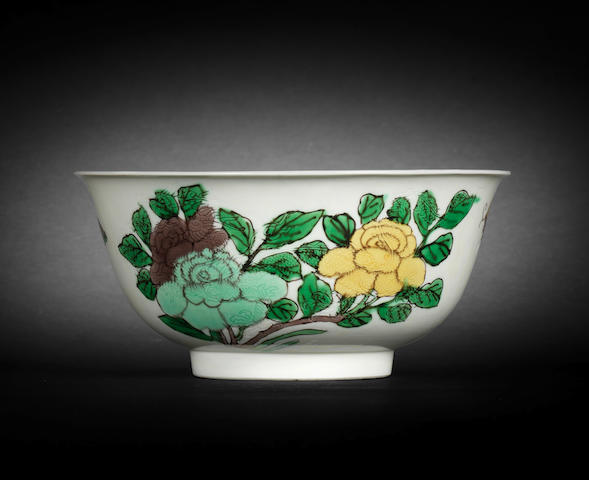 A brown, yellow and green-enamelled anhua-decorated bowl  Kangxi six-character mark and of the period