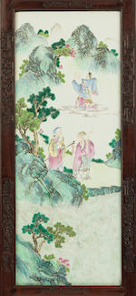 An Imperial very rare famille rose and huanghuali twelve-leaf screen Jiaqing