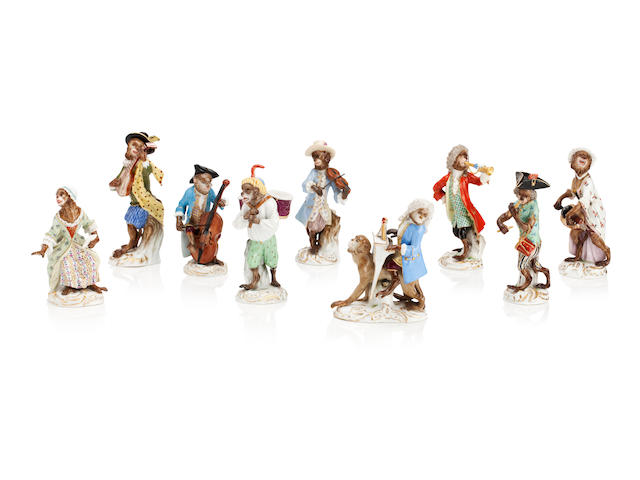 A collection of nine Meissen monkey band figures Late 19th/early 20th century