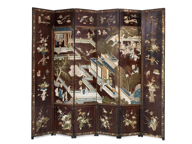 A six-panel carved and painted lacquer Coromandel screen Kangxi