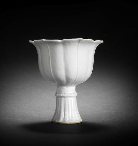 A Qingbai lobed stem cup Yuan Dynasty
