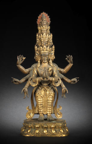 A fine gilt-bronze figure of eleven-headed Avalokitesvara 18th century