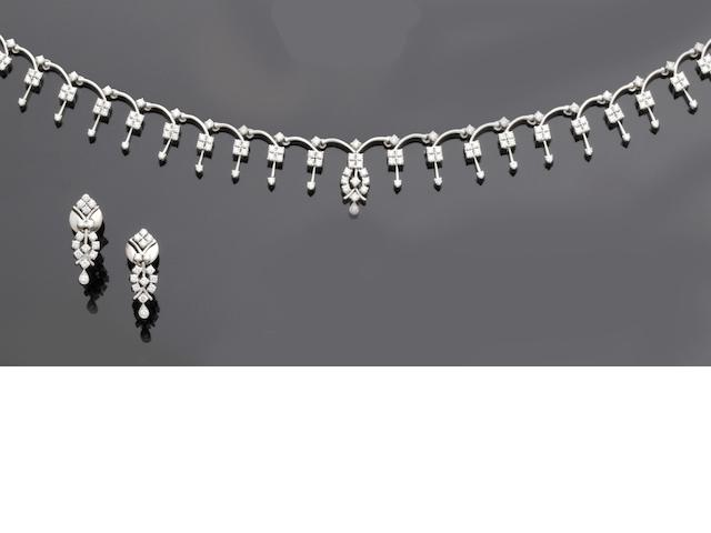 A diamond fringe necklace and earrings ensuite (2)