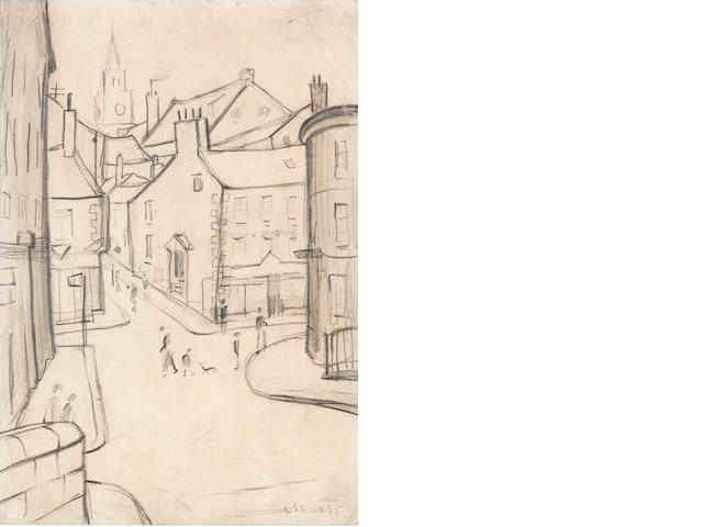 Laurence Stephen Lowry R.A. (British, 1887-1976) Street Scene, Berwick-on-Tweed 26.7 x 18.3 cm. (10 1/2 x 7 1/4 in.)
