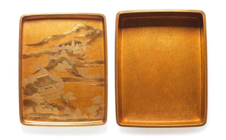A matching gold lacquer suzuribako (writing box) and ryoshibako (document box) set and covers Meiji Period