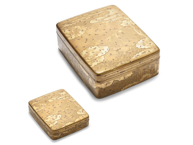 A matching gold lacquer suzuribako (writing box) and ryoshibako (document box) set and covers Meiji Period