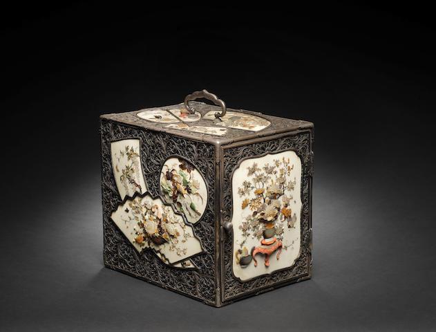 A silver, ivory and Shibayama-inlaid kodansu (table cabinet) Meiji Period