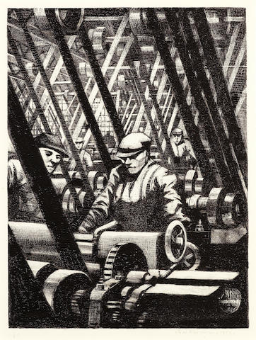 Christopher Richard Wynne Nevinson (British, 1889-1946) Making the Engine Lithograph, 1917, on watermarked Holbein wove, signed, dated and numbered 61 in pencil, from the edition of 200, as included in 'Building the Aircraft', printed by Ernest Jackson, published by the Stationary Office as part of the series 'The Great War: Britain's Efforts and Ideals', with margins, 403 x 302mm (16 x 12in)(I)