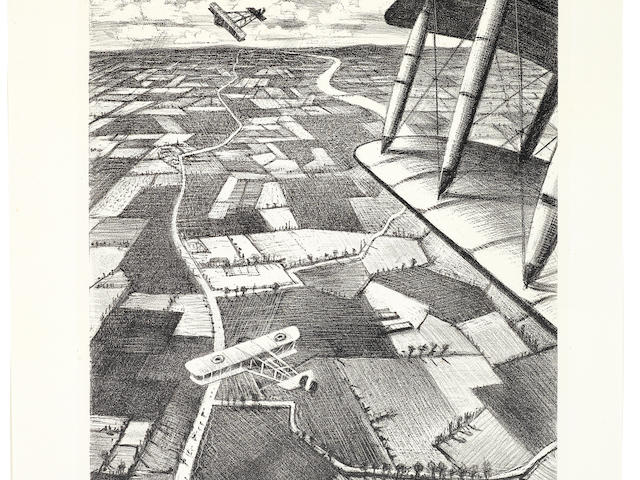 Christopher Richard Wynne Nevinson (British, 1889-1946) In the Air Lithograph, 1917, on watermarked Holbein wove, signed, dated and numbered 53 in pencil, from the edition of 200, as included in 'Building the Aircraft', printed by Ernest Jackson, published by the Stationary Office as part of the series 'The Great War: Britain's Efforts and Ideals', with margins, 404 x 209mm (16 x 8 1/4in)(I)