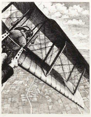 Christopher Richard Wynne Nevinson (British, 1889-1946) Banking at 4,000 Feet  Lithograph, 1917, on watermarked Holbein wove, signed, dated and numbered 28 in pencil, from the edition of 200, as included in 'Building the Aircraft', printed by Ernest Jackson, published by the Stationary Office as part of the series 'The Great War: Britain's Efforts and Ideals', with margins, 402 x 315mm (16 x 12 1/2in)(I)
