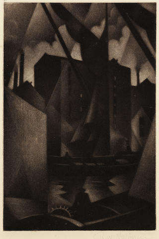 Christopher Richard Wynne Nevinson (British, 1889-1946) Southwark (Limehouse) The very rare mezzotint, 1918, a rich tonal impression with velvety blacks and delicate highlights, on watermarked F. J. Head & Co. hand-made laid, signed in pencil, with margins, 225 x 150mm (8 7/8 x 5 7/8in) (PL)