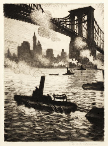 Christopher Richard Wynne Nevinson (British, 1889-1946) Under Brooklyn Bridge  Drypoint, 1920, on J. Whatman watermaked laid, an excellent impression with rich burr and delicate tones, signed in pencil, from the edition of 50, with margins, 177 x 126mm (7 x 5in)(PL)