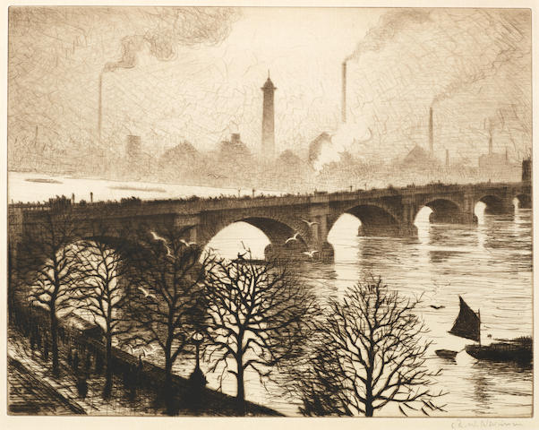 Christopher Richard Wynne Nevinson (British, 1889-1946) Waterloo Bridge from a Savoy Window  Etching printed with tone, 1925, on J.Whatman laid, an excellent impression, signed in pencil, from the edition of 75, with margins, 275 x 353mm (10 3/4 x 13 7/8in)(PL)