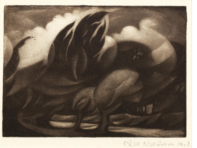 Christopher Richard Wynne Nevinson (British, 1889-1946) Wind The rare mezzotint, 1918, a rich tonal impression with velvety blacks and delicate highlights, on watermarked F. J. Head & Co. hand-made laid, signed and dated in pencil, from the edition of 25, with margins, 127 x 178mm (5 x 7in) (PL)