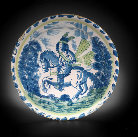 A delftware blue dash equestrian charger, early 18th century