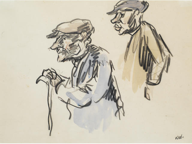 Sir Kyffin Williams R.A. (British, 1918-2006) Study of two farmers