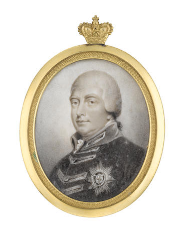 Henry Edridge (British, 1769-1821) George III (1738-1820), King of Great Britain and Ireland (1760-1801), King of the United Kingdom of Great Britain and Ireland (1801-1820), wearing Windsor uniform and breast star of the Order of the Garter, frilled chemise and stock, his close-fitting powdered wig tied with ribbon