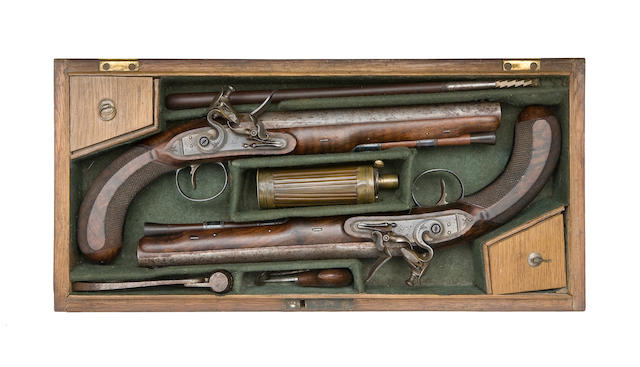A Cased Pair Of 18-Bore Flintlock Duelling Or Officer's Pistols