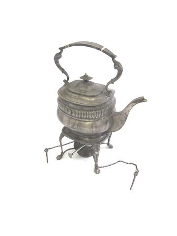 A silver tea kettle on stand by Heming & Co Ltd, London 1921