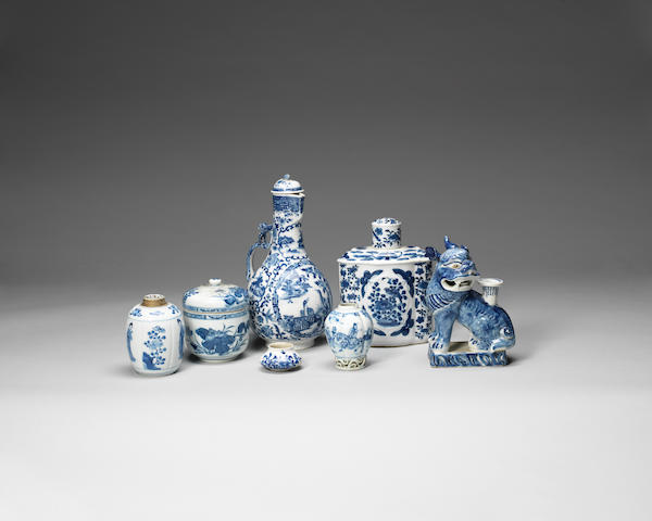 A group of blue and white wares Kangxi-19th century
