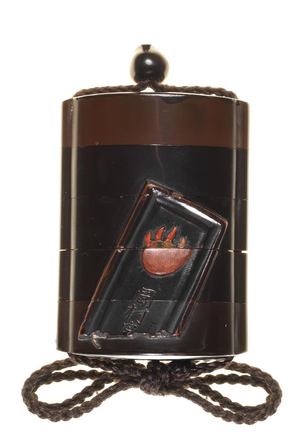 A black lacquer four-case inro 18th century
