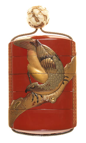 A red lacquer four-case inro Late 18th/early 19th century