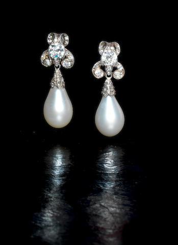 A pair of 19th century natural pearl and diamond pendent earrings