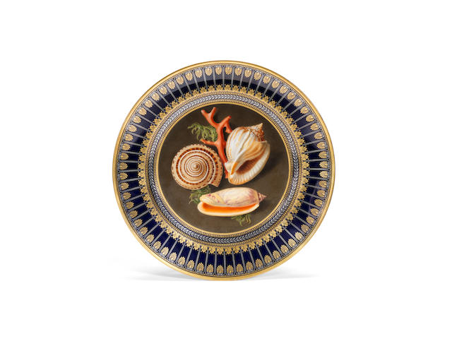 A Sèvres blue-ground plate from the Service 'des Productions de la nature', circa 1836