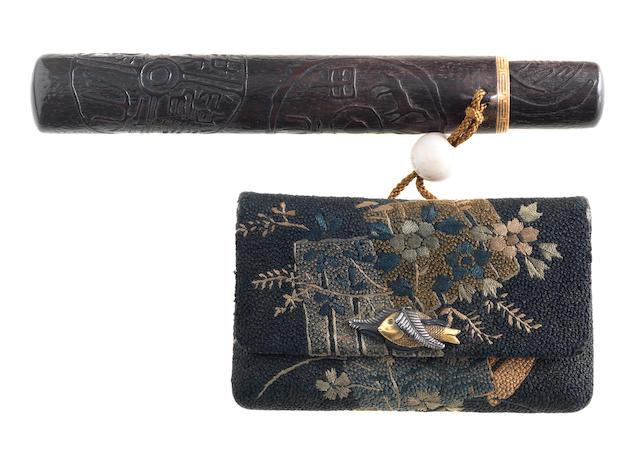 A wood kiseruzutsu with tabako-ire  19th century