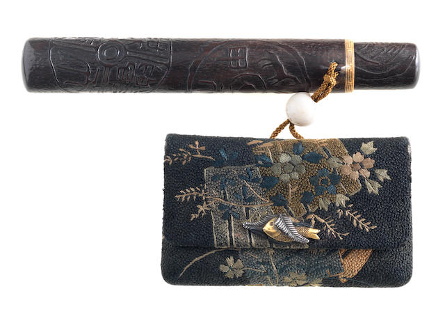 A wood kiseruzutsu with tabako-ire  19th century