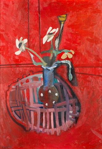 Françoise Gilot (French, born 1921) 'Le vase fond rouge'