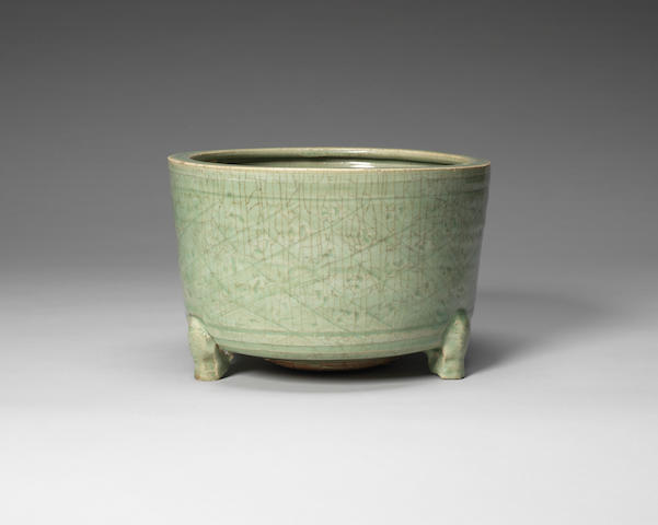 A Longquan celadon glazed tripod incense burner 15th century