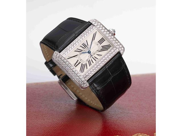 Cartier. A fine 18ct white gold and diamond set automatic wristwatch with box and papers Tank Divan, Ref:6262, Case No:278620CE, Sold 8th April 2004