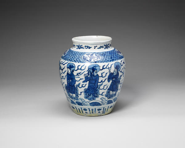 A blue and white baluster jar Xuande six-character mark, Wanli