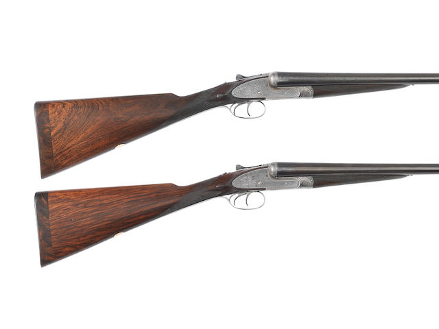 A pair of 12-bore 'Imperial Ejector' sidelock ejector guns by Lang & Hussey Ltd, no. 10904/5 In Joseph Lang & Son Ltd. brass-mounted oak and leather case (handle missing)
