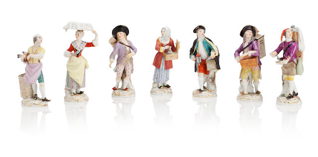 Seven Meissen figures from the Cries of Paris series Circa 1900