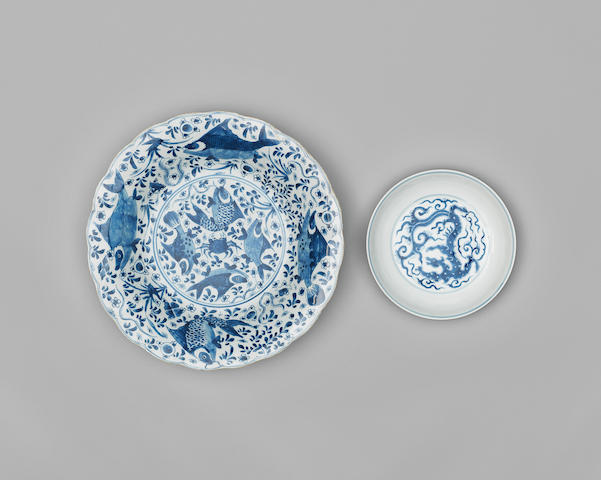 Two blue and white wares Kangxi