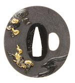 A shakudo kinko tsuba By Egawa Toshimasa, mid to late 19th century